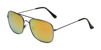 Angle of Aspen in Grey Frame with Red/Orange Mirrored Lenses, Women's and Men's Aviator Sunglasses