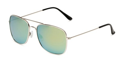 Angle of Aspen in Silver Frame with Yellow/Blue Mirrored Lenses, Women's and Men's Aviator Sunglasses