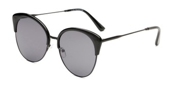 Angle of Aubrey  in Black Frame with Grey Lenses, Women's Cat Eye Sunglasses