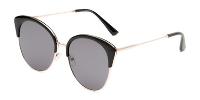 Angle of Aubrey  in Black/Gold Frame with Grey Lenses, Women's Cat Eye Sunglasses