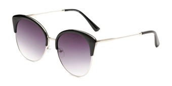 Angle of Aubrey  in Black/Silver Frame with Smoke Gradient Lenses, Women's Cat Eye Sunglasses
