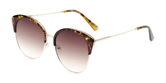 Angle of Aubrey  in Tortoise/Gold Frame with Amber Gradient Lenses, Women's Cat Eye Sunglasses