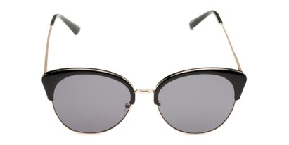 Front of Aubrey  in Black/Gold Frame with Grey Lenses