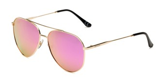 Angle of BGL 1903 by Body Glove in Gold Frame with Pink Mirrored Lenses, Women's Aviator Sunglasses