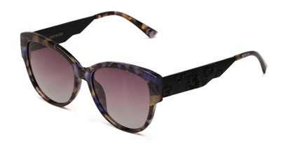 Angle of BGL 2008 by Body Glove in Green Tortoise Frame with Smoke Lenses, Women's Cat Eye Sunglasses