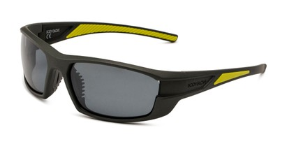 Angle of BGM 1801 by Body Glove in Grey Frame with Smoke Mirrored Lenses, Men's Sport & Wrap-Around Sunglasses