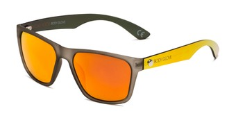 Angle of BGM 2014 by Body Glove in Grey/Yellow Frame with Orange Mirrored Lenses, Men's Retro Square Sunglasses