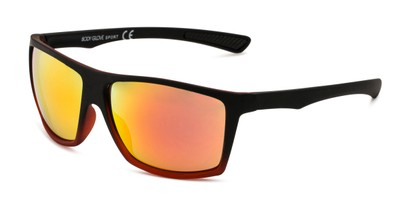 Angle of BGSPT 2011 by Body Glove in Matte Black/Red Frame with Red Mirrored Lenses, Men's Square Sunglasses