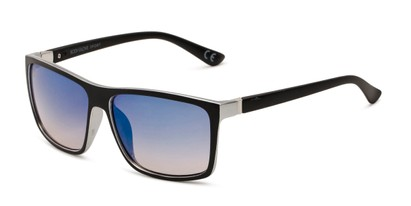 Angle of BGSPT 2016 by Body Glove in Black/Silver Frame with Blue Mirrored Lenses, Men's Square Sunglasses