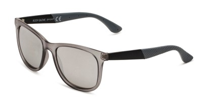 Angle of BGSPT 2023 by Body Glove in Crystal Grey Frame with Silver Mirrored Lenses, Women's and Men's Retro Square Sunglasses