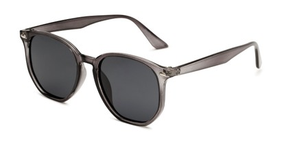 Angle of Beckett in Clear Grey Frame with Smoke Lenses, Women's and Men's Round Sunglasses