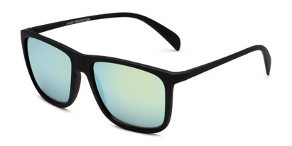 Angle of Bensley in Black Frame with Yellow/Blue Lenses, Men's Retro Square Sunglasses
