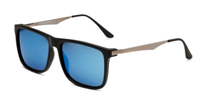 Angle of Bermuda  in Black Frame with Blue Mirrored Lenses, Men's Square Sunglasses