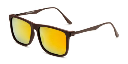 Angle of Bermuda  in Brown Frame with Red/Orange Mirrored Lenses, Men's Square Sunglasses