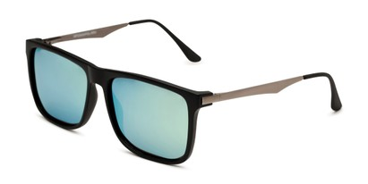 Angle of Bermuda  in Black Frame with Green Mirrored Lenses, Men's Square Sunglasses