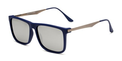 Angle of Bermuda  in Blue Frame with Silver Mirrored Lenses, Men's Square Sunglasses