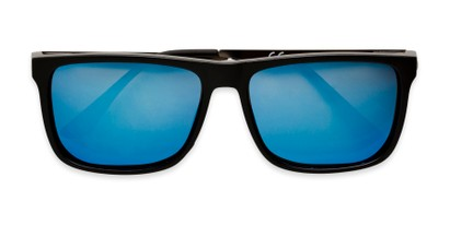 Folded of Bermuda  in Black Frame with Blue Mirrored Lenses
