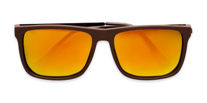 Folded of Bermuda  in Brown Frame with Red/Orange Mirrored Lenses