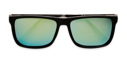 Folded of Bermuda  in Black Frame with Green Mirrored Lenses