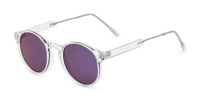 Angle of Bigsby in Clear/Silver Frame with Blue Mirrored Lenses, Women's and Men's Round Sunglasses