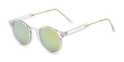 Angle of Bigsby in Clear/Gold Frame with Green/Pink Mirrored Lenses, Women's and Men's Round Sunglasses