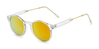 Angle of Bigsby in Clear/Gold Frame with Orange Mirrored Lenses, Women's and Men's Round Sunglasses