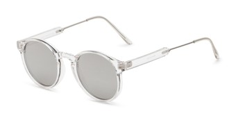 Angle of Bigsby in Clear/Silver Frame with Silver Mirrored Lenses, Women's and Men's Round Sunglasses