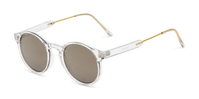Angle of Bigsby in Clear/Gold Frame with Smoke Mirrored Lenses, Women's and Men's Round Sunglasses