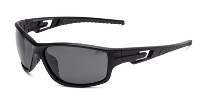 Angle of Burton in Black Frame with Smoke Lenses, Men's Sport & Wrap-Around Sunglasses