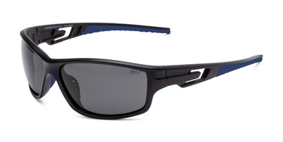 Angle of Burton in Black/Blue Frame with Smoke Lenses, Men's Sport & Wrap-Around Sunglasses