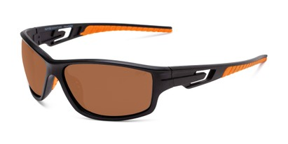 Angle of Burton in Black/Orange Frame with Amber Lenses, Men's Sport & Wrap-Around Sunglasses