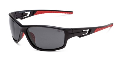 Angle of Burton in Black/Red Frame with Smoke Lenses, Men's Sport & Wrap-Around Sunglasses