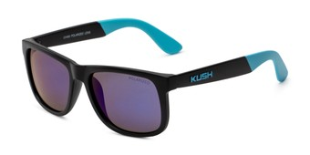 Angle of Caleb in Black/Blue Frame with Blue Mirrored Lenses, Men's Square Sunglasses