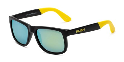 Angle of Caleb in Black/Yellow Frame with Yellow/Green Mirrored Lenses, Men's Square Sunglasses