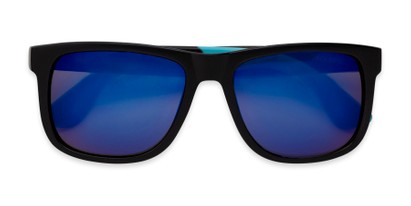 Folded of Caleb in Black/Blue Frame with Blue Mirrored Lenses