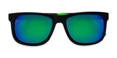 Folded of Caleb in Black/Green Frame with Blue/Green Mirrored Lenses