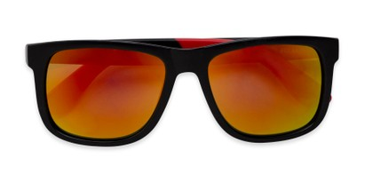 Folded of Caleb in Black/Red Frame with Red/Orange Mirrored Lenses