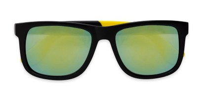 Folded of Caleb in Black/Yellow Frame with Yellow/Green Mirrored Lenses