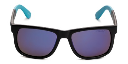 Front of Caleb in Black/Blue Frame with Blue Mirrored Lenses