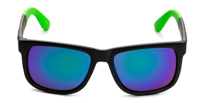 Front of Caleb in Black/Green Frame with Blue/Green Mirrored Lenses