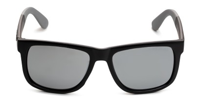 Front of Caleb in Black/Silver Frame with Silver Mirrored Lenses
