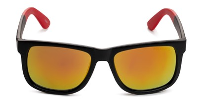 Front of Caleb in Black/Red Frame with Red/Orange Mirrored Lenses
