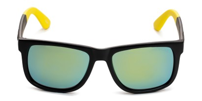 Front of Caleb in Black/Yellow Frame with Yellow/Green Mirrored Lenses