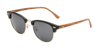 Angle of Candid in Matte Black/Gold/Faux Wood Frame with Smoke Lenses, Women's and Men's Browline Sunglasses