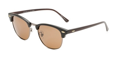 Angle of Candid in Matte Black/Grey/Faux Wood Frame with Amber Lenses, Women's and Men's Browline Sunglasses