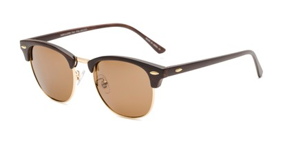 Angle of Candid in Dark Brown Faux Wood/Gold Frame with Amber Lenses, Women's and Men's Browline Sunglasses