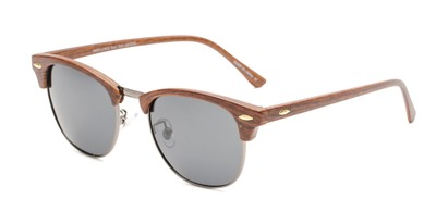 Angle of Candid in Brown Faux Wood/Grey Frame with Smoke Lenses, Women's and Men's Browline Sunglasses