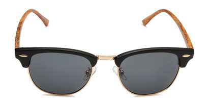 Front of Candid in Matte Black/Gold/Faux Wood Frame with Smoke Lenses
