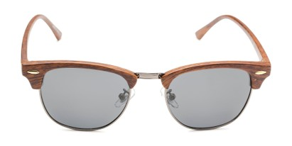 Front of Candid in Brown Faux Wood/Grey Frame with Smoke Lenses