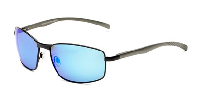 Angle of Cassian in Black Frame with Blue Mirrored Lenses, Men's Square Sunglasses
